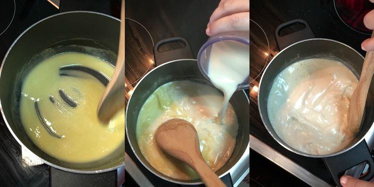 Fasi di preparazione della besciamella senza lattosio