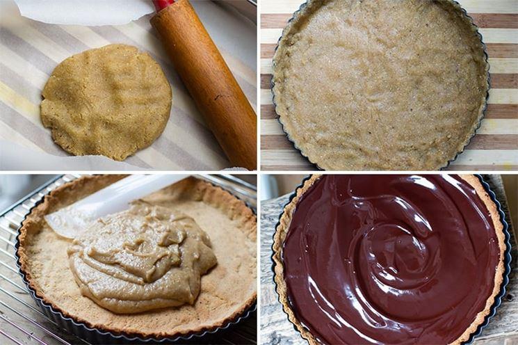 Crostata vegana alla crema di nocciole e cioccolata in step
